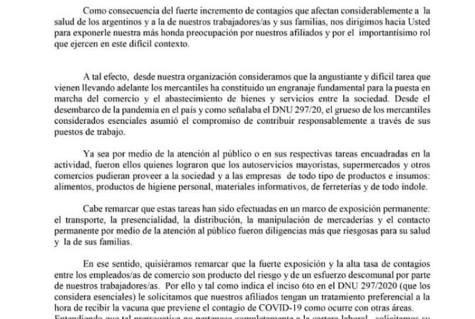Cavalieri pidió a Nación que vacunen a empleados de comercio