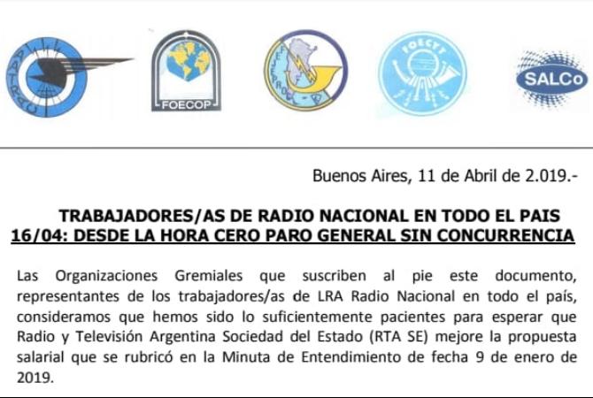 Trabajadores de Radio  Nacional de todo el país paran el 16