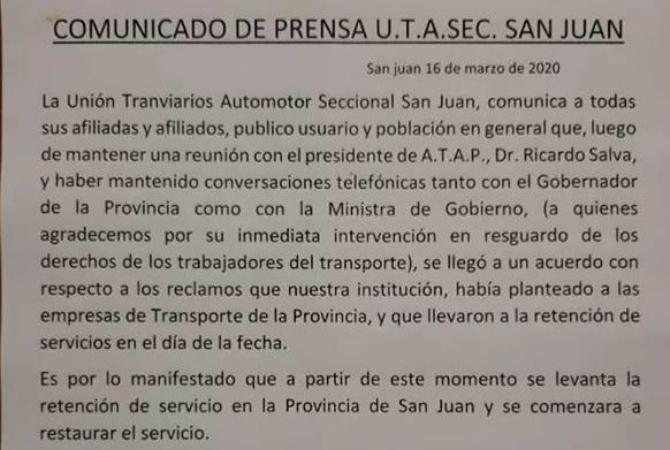 ¡ÚLTIMO  MOMENTO! Se levantó el paro de colectivos en San Juan