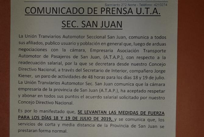 Hubo acuerdo con UTA y en San Juan no hay paro de colectivos