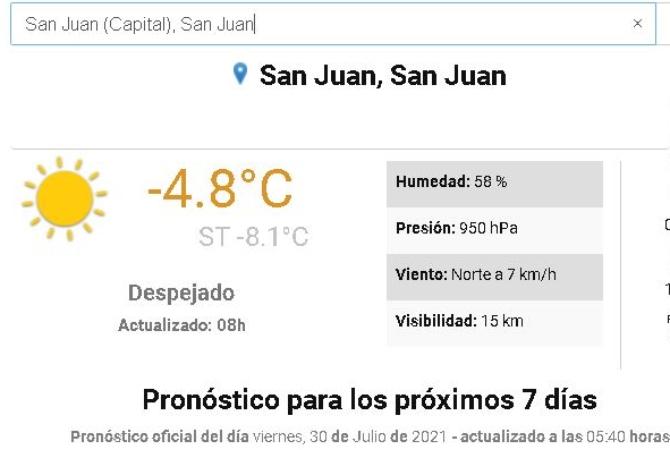 FRÍO EN SERIO: -4.8  de temperatura y -8.1 de térmica
