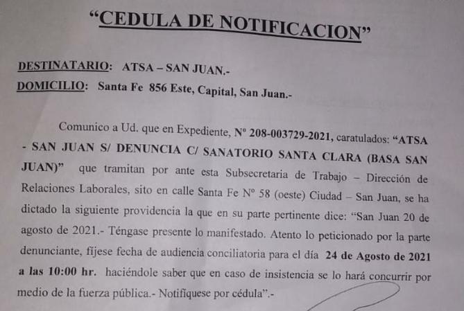 ATSA se moviliza por despidos de personal en Santa Clara