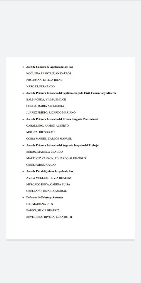 Se conocieron las ternas para cubrir seis cargos en la Justicia