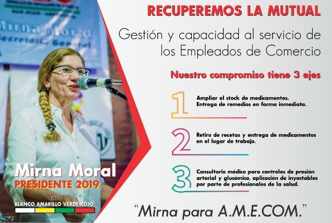 Guerra mercantil: Mirna Moral va por la mutual que preside Peña