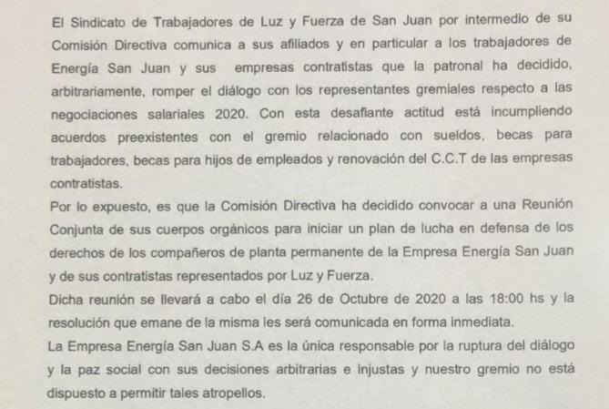 ¿SE VIENEN LOS PAROS? Se rompió el diálogo entre el gremio y Energía San Juan