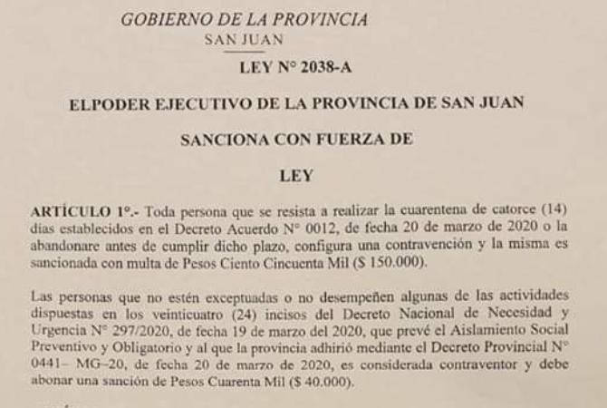 Los que no cumplan la cuarentena serán multados con 150 mil pesos