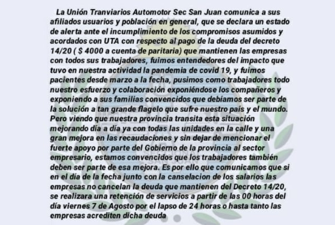 Choferes de colectivos amenazan con parar mañana en San Juan