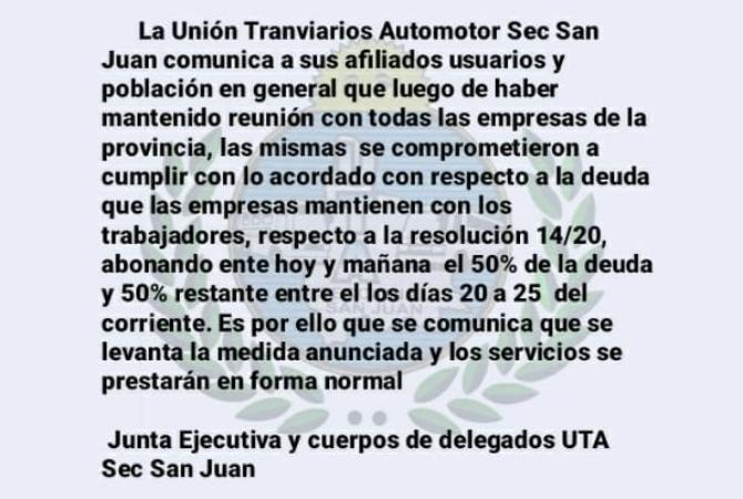 UTA acordó con empresarios y mañana no hay paro de colectivos