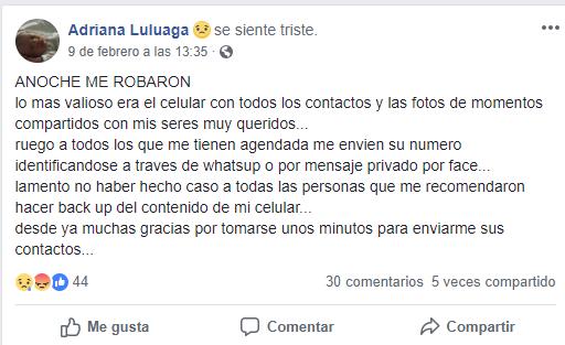 Adriana Luluaga, víctima de un robo