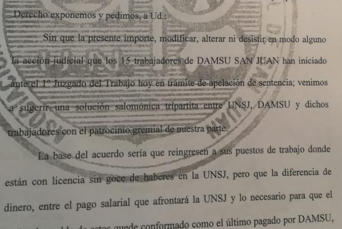 Piden a DAMSU que los 15 empleados en conflicto vuelvan a la UNSJ