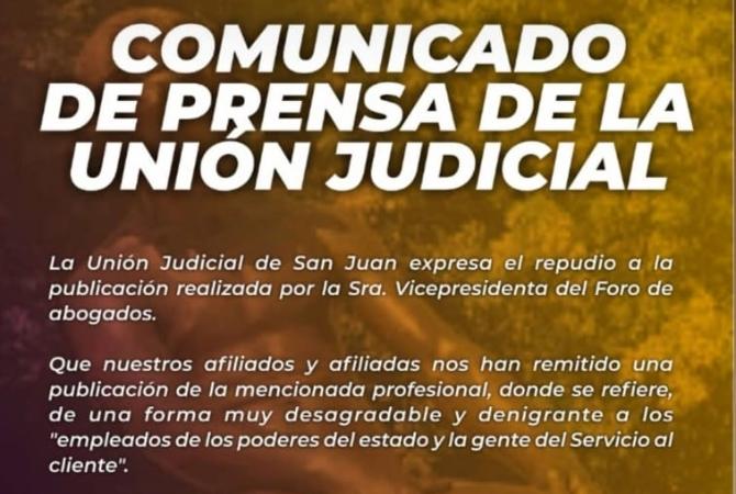 La Unión Judicial cruzó a la vice del Foro de Abogados