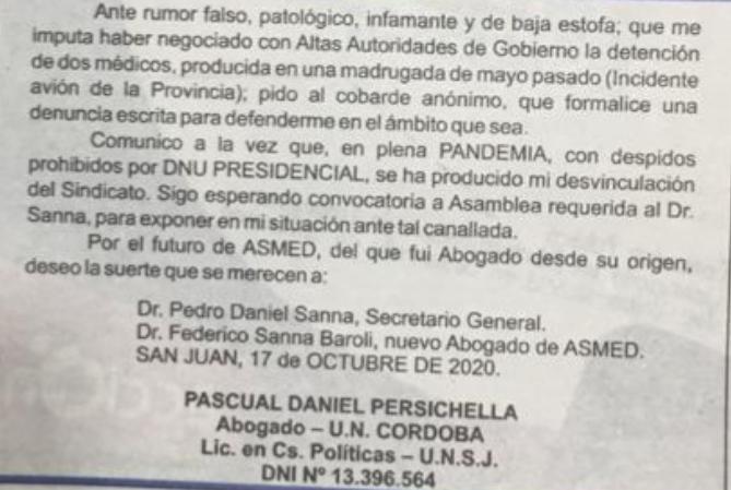 ESCÁNDALO! Con fuertes acusaciones a Sanna, Persichella dejó el Sindicato Médico