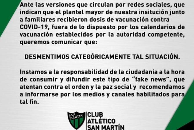 San Martín desmintió que su plantel haya sido vacunado