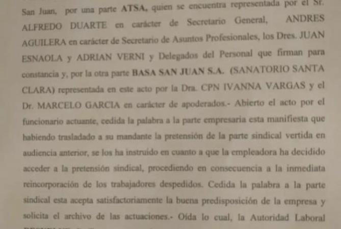 ATSA logró que BASA reincorpore a 18 despedidos de Santa Clara
